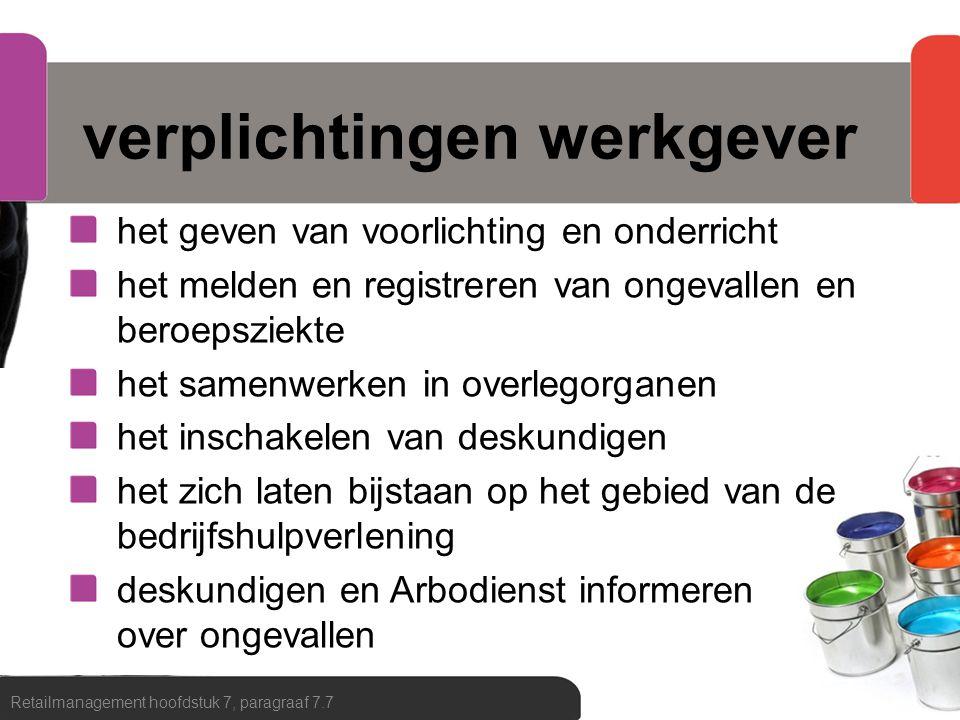 arbobeleid organiseren van het werk inrichten van de werkplek bepalen van de werkmethode Retailmanagement hoofdstuk 7, paragraaf 7.7