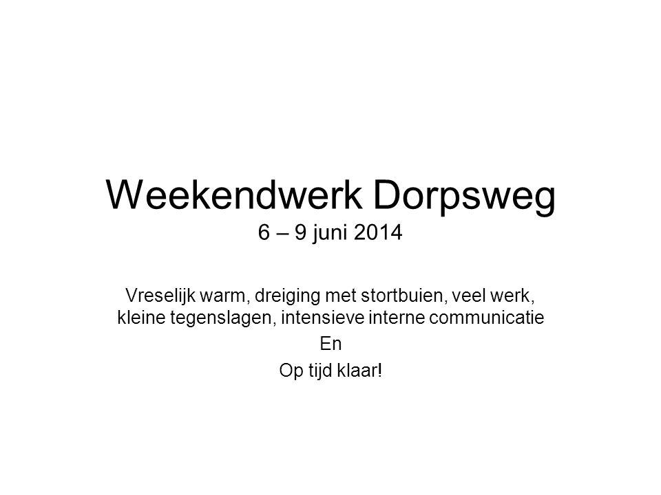 Weekendwerk Dorpsweg 6 – 9 juni 2014 Vreselijk warm, dreiging met stortbuien, veel werk, kleine tegenslagen, intensieve interne communicatie En Op tijd klaar!