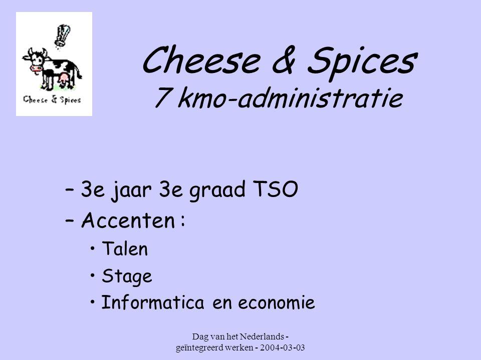 Dag van het Nederlands - geïntegreerd werken - 2004-03-03 Cheese & Spices 7 kmo-administratie (elke dinsdag van 8.25 – 16.00 uur)