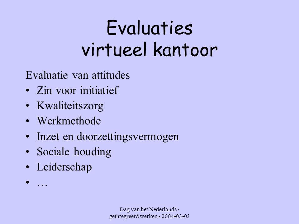 Dag van het Nederlands - geïntegreerd werken - 2004-03-03 Evaluaties virtueel kantoor Leerlingen : hoe evalueren .