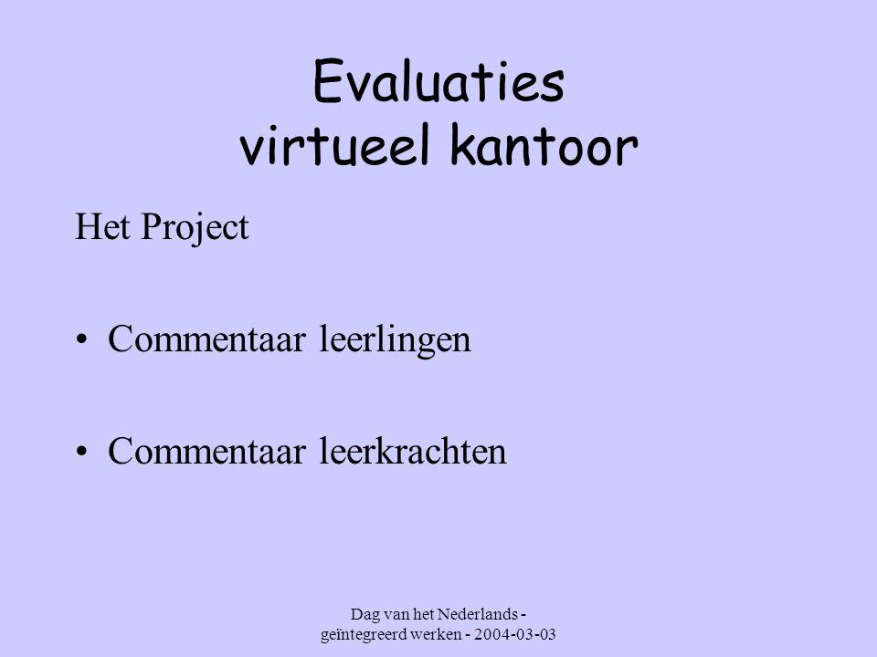 Dag van het Nederlands - geïntegreerd werken - 2004-03-03 Evaluaties virtueel kantoor Evaluatie van attitudes : Permanent Periodisch samen met collega's