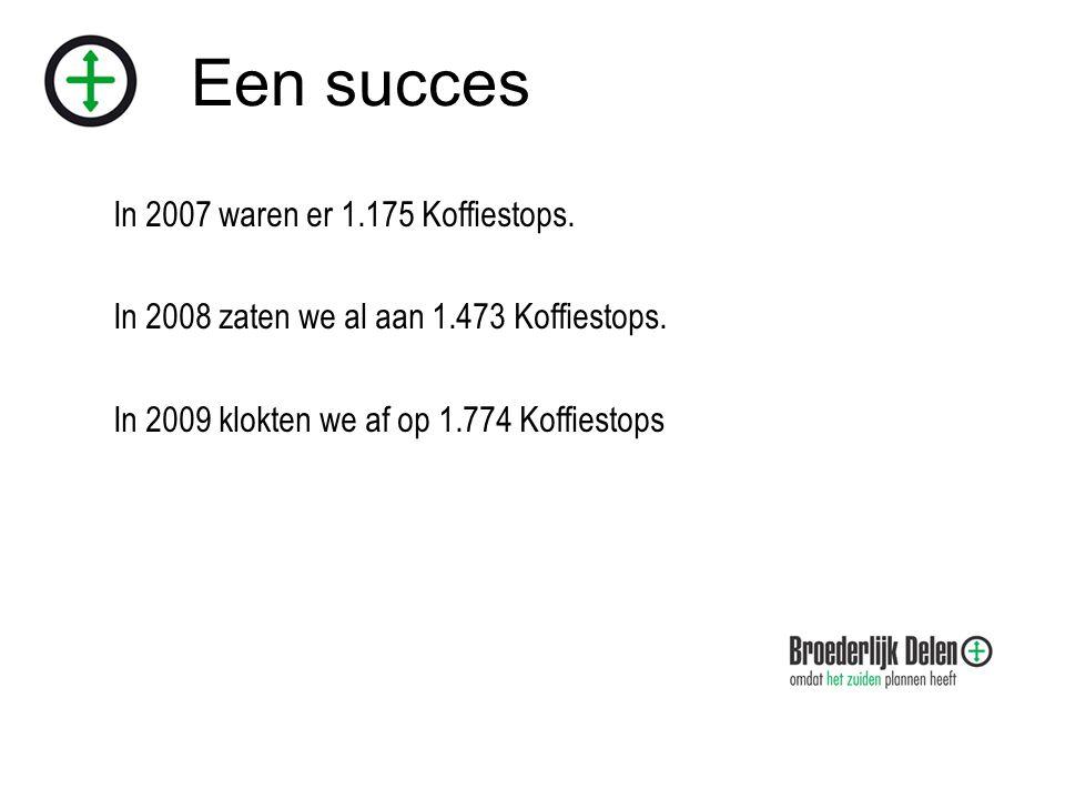 Een succes In 2007 waren er 1.175 Koffiestops. In 2008 zaten we al aan 1.473 Koffiestops.
