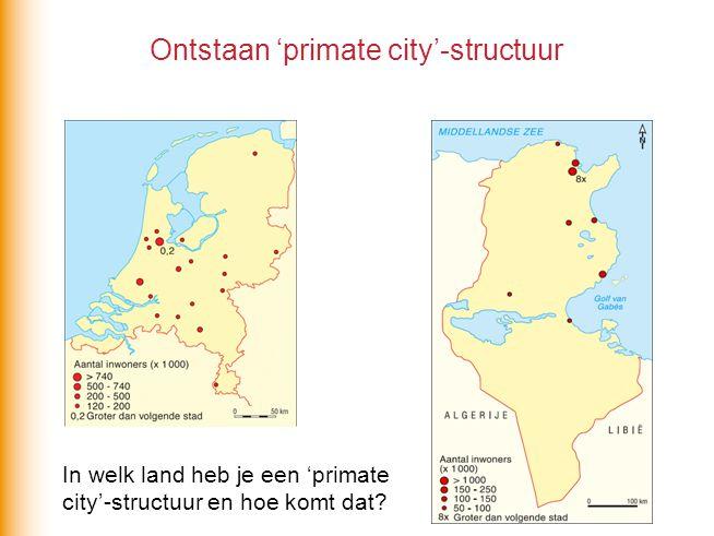 Ontstaan 'primate city'-structuur In welk land heb je een 'primate city'-structuur en hoe komt dat?