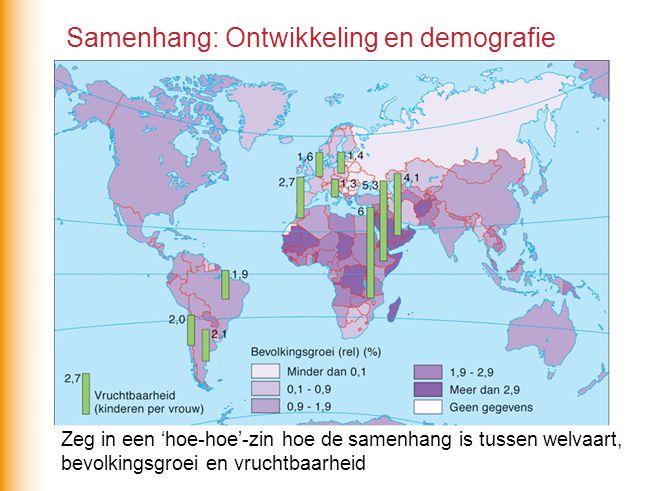 Samenhang: Ontwikkeling en demografie Zeg in een 'hoe-hoe'-zin hoe de samenhang is tussen welvaart, bevolkingsgroei en vruchtbaarheid