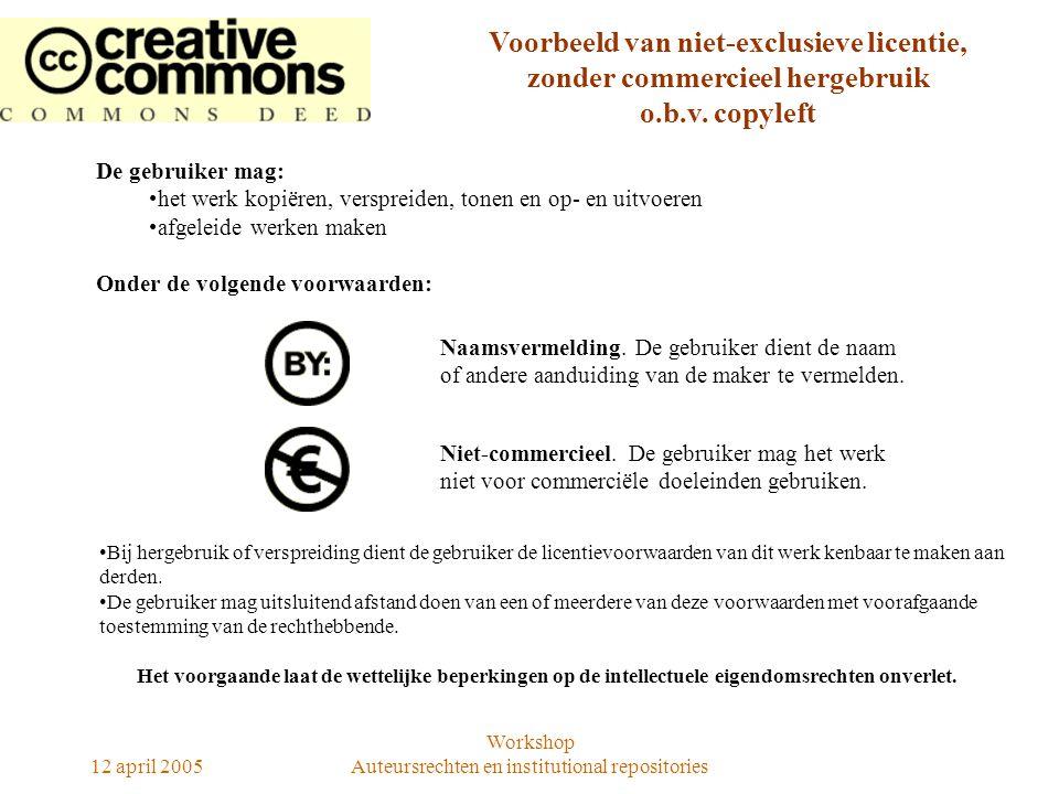 12 april 2005 Workshop Auteursrechten en institutional repositories De gebruiker mag: het werk kopiëren, verspreiden, tonen en op- en uitvoeren afgele