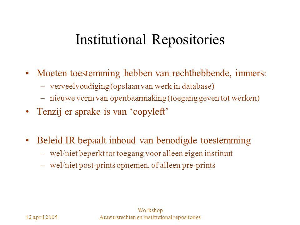 12 april 2005 Workshop Auteursrechten en institutional repositories Institutional Repositories Moeten toestemming hebben van rechthebbende, immers: –v