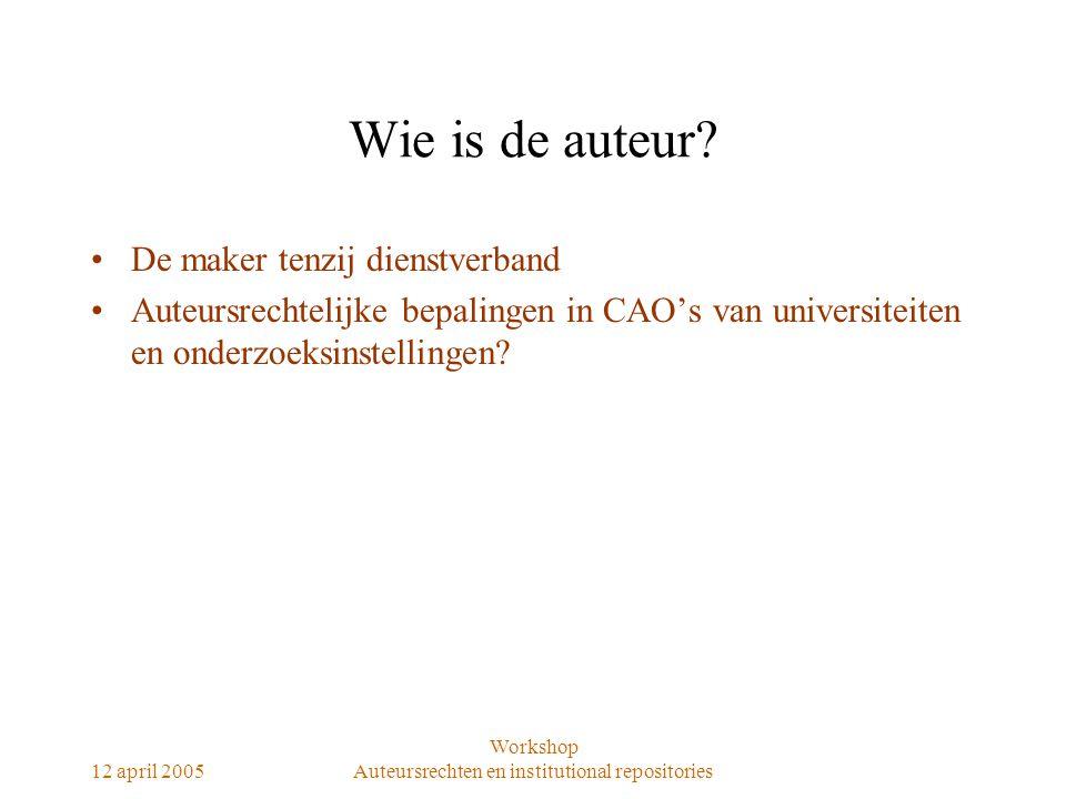 12 april 2005 Workshop Auteursrechten en institutional repositories Rechten van auteur Exploitatierechten –Openbaarmaken –Verveelvoudigen Persoonslijkheidsrechten –Naamsvermelding –Waarborg integriteit Afzien van rechten.