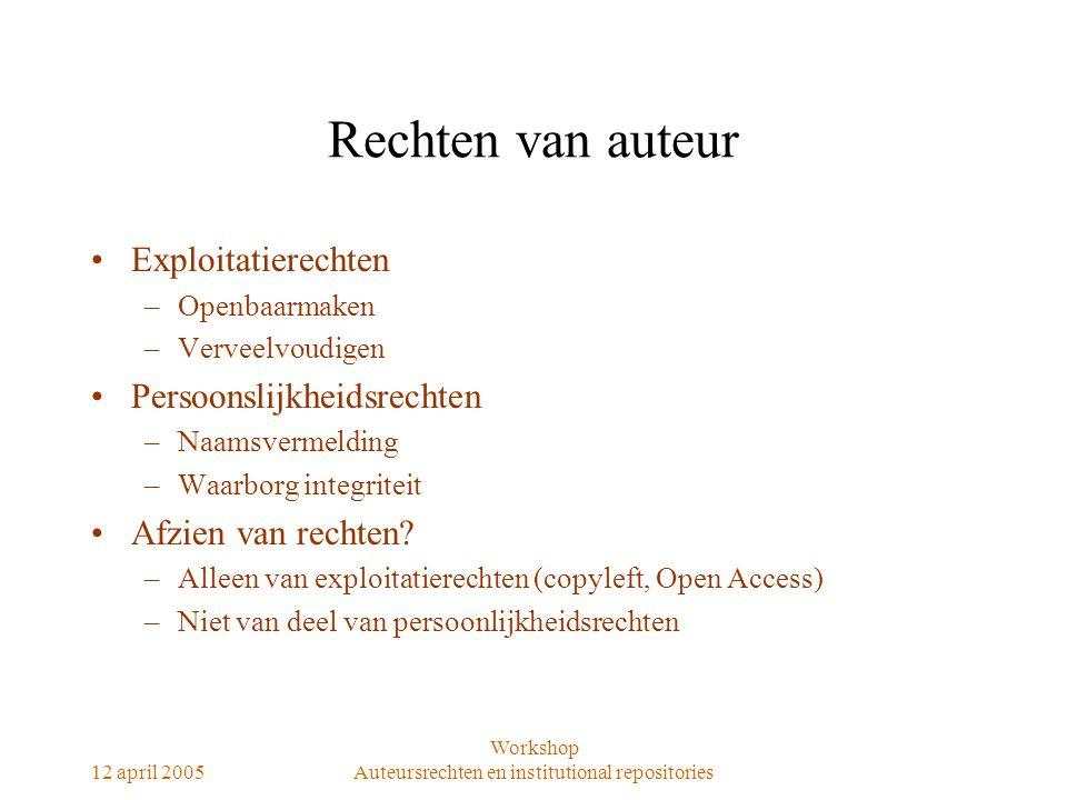 12 april 2005 Workshop Auteursrechten en institutional repositories Rechten van auteur Exploitatierechten –Openbaarmaken –Verveelvoudigen Persoonslijk