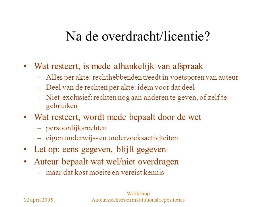 12 april 2005 Workshop Auteursrechten en institutional repositories