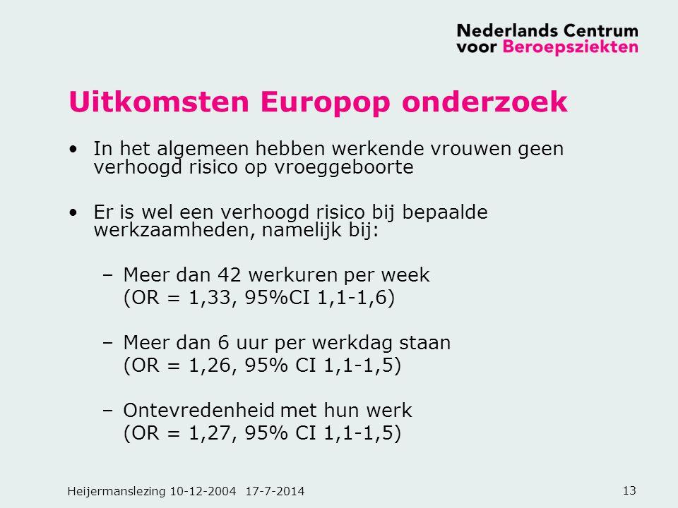 Heijermanslezing 10-12-2004 17-7-201413 Uitkomsten Europop onderzoek In het algemeen hebben werkende vrouwen geen verhoogd risico op vroeggeboorte Er