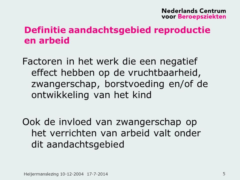Heijermanslezing 10-12-2004 17-7-20145 Definitie aandachtsgebied reproductie en arbeid Factoren in het werk die een negatief effect hebben op de vruch