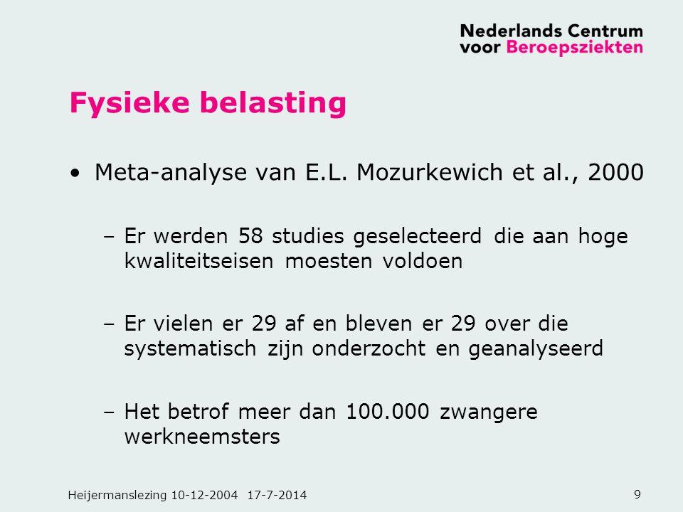 Heijermanslezing 10-12-2004 17-7-20149 Fysieke belasting Meta-analyse van E.L. Mozurkewich et al., 2000 –Er werden 58 studies geselecteerd die aan hog