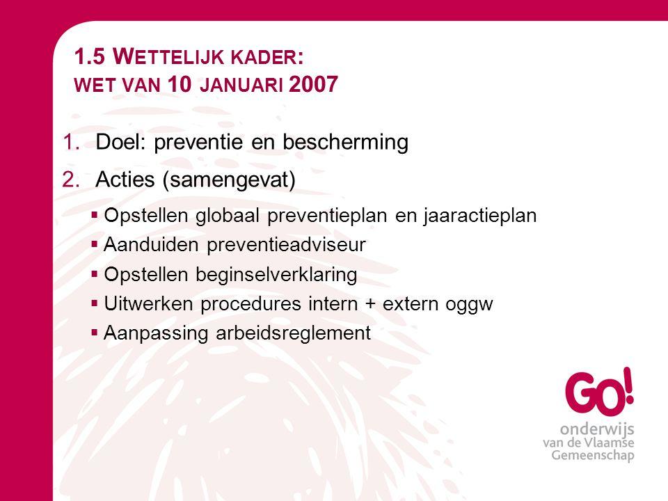 1.5 W ETTELIJK KADER : WET VAN 10 JANUARI 2007 1.Doel: preventie en bescherming 2.Acties (samengevat)  Opstellen globaal preventieplan en jaaractiepl