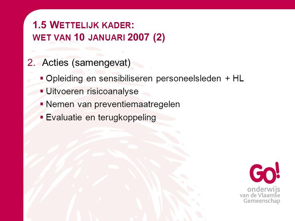 1.5 W ETTELIJK KADER : WET VAN 10 JANUARI 2007 (2) 2.Acties (samengevat)  Opleiding en sensibiliseren personeelsleden + HL  Uitvoeren risicoanalyse