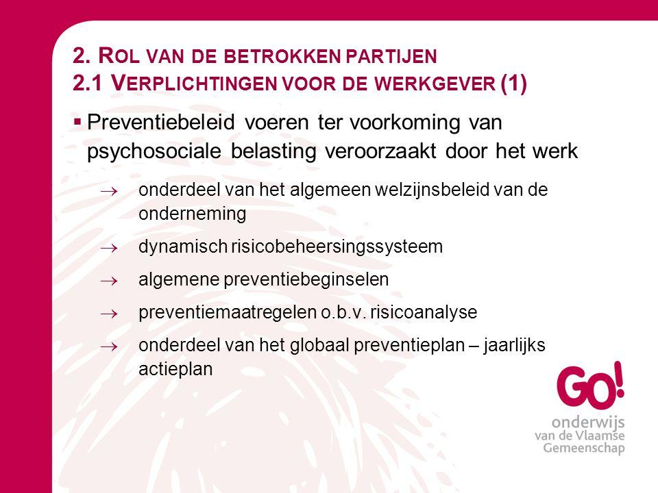 2. R OL VAN DE BETROKKEN PARTIJEN 2.1 V ERPLICHTINGEN VOOR DE WERKGEVER (1)  Preventiebeleid voeren ter voorkoming van psychosociale belasting veroor