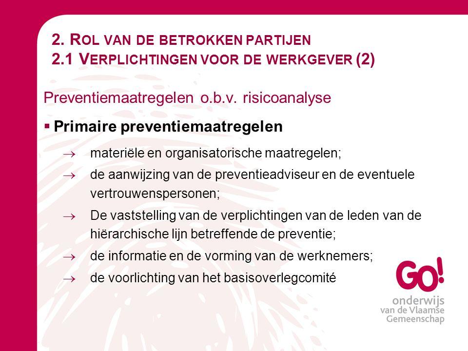 2. R OL VAN DE BETROKKEN PARTIJEN 2.1 V ERPLICHTINGEN VOOR DE WERKGEVER (2) Preventiemaatregelen o.b.v. risicoanalyse  Primaire preventiemaatregelen