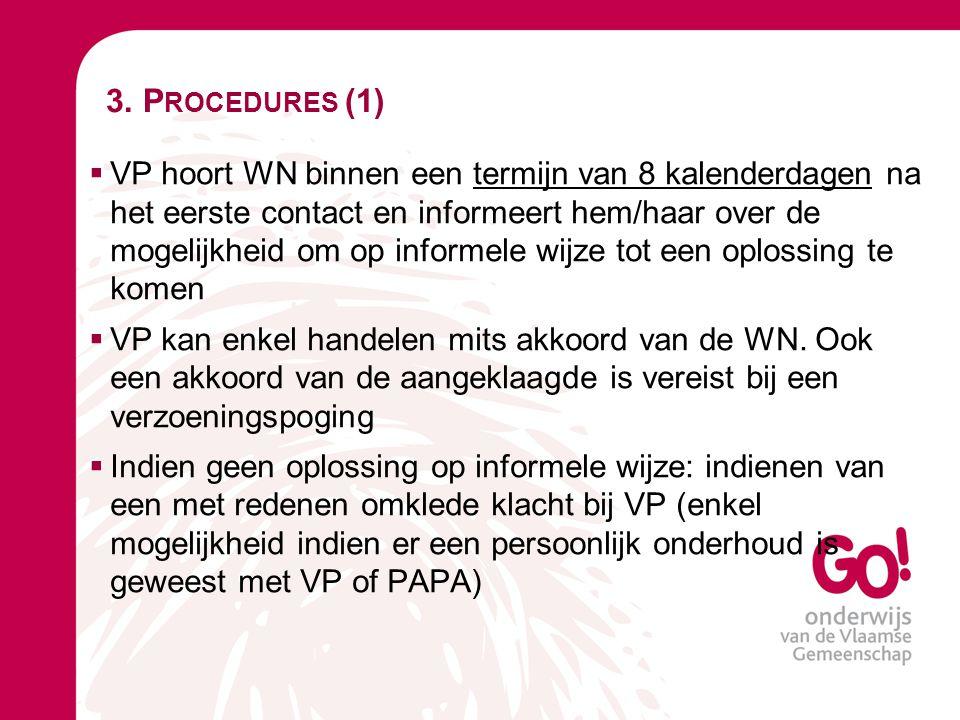 3. P ROCEDURES (1)  VP hoort WN binnen een termijn van 8 kalenderdagen na het eerste contact en informeert hem/haar over de mogelijkheid om op inform
