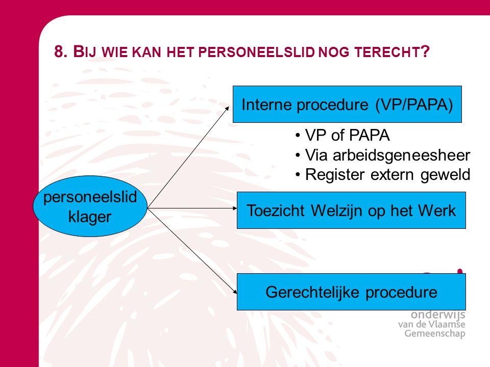 8. B IJ WIE KAN HET PERSONEELSLID NOG TERECHT ? personeelslid klager Interne procedure (VP/PAPA) Toezicht Welzijn op het Werk Gerechtelijke procedure