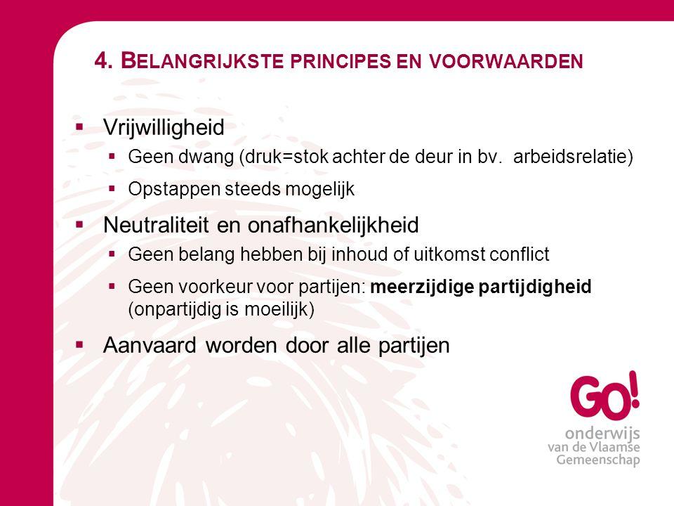 4. B ELANGRIJKSTE PRINCIPES EN VOORWAARDEN  Vrijwilligheid  Geen dwang (druk=stok achter de deur in bv. arbeidsrelatie)  Opstappen steeds mogelijk