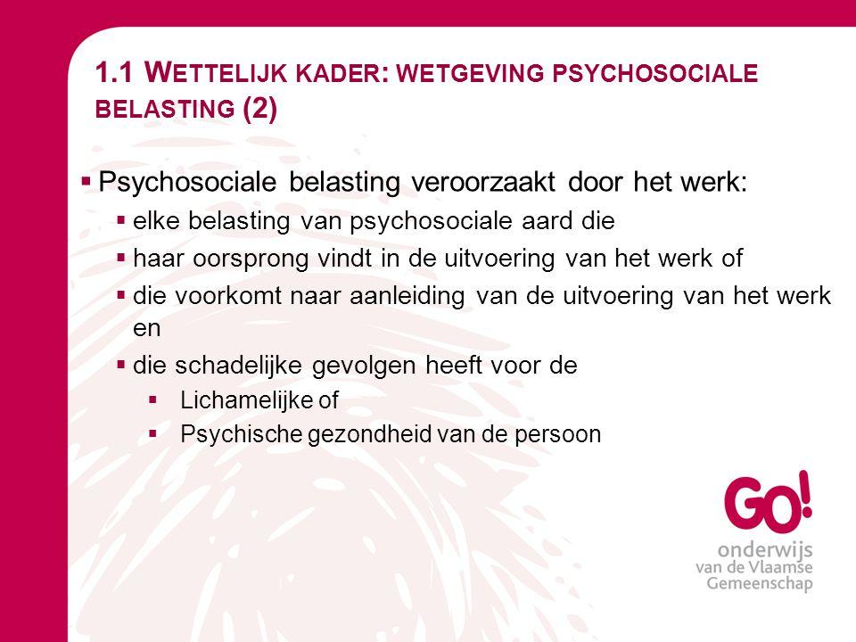 1.1 W ETTELIJK KADER : WETGEVING PSYCHOSOCIALE BELASTING (3)  Er is sprake van een integratiebeweging: de problematiek rond geweld, pesterijen en ongewenst seksueel gedrag op het werk wordt geïntegreerd in het domein van psychosociale belasting op het werk  Doel van deze integratiebeweging (signaal van de wetgever): voorkomen dat psychosociale aspecten escaleren tot OGGW (OnGewenst Gedrag op het Werk).