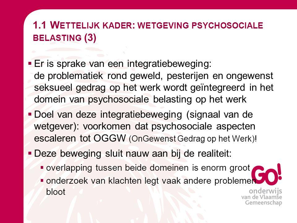 1.1 W ETTELIJK KADER : WETGEVING PSYCHOSOCIALE BELASTING (3)  Er is sprake van een integratiebeweging: de problematiek rond geweld, pesterijen en ong