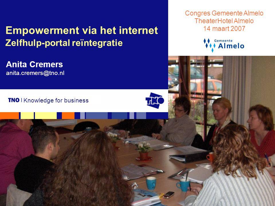 Anita Cremers, Congres Gemeente Almelo, 14 maart 20072 Overzicht Vraagstelling Knelpunten- en behoeften-analyse De zelfhulp-portal Evaluatie in de vorm van een pilot Conclusies en aanbevelingen