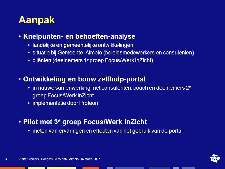 Anita Cremers, Congres Gemeente Almelo, 14 maart 200715 Resultaten Daadwerkelijke gebruik van de portal regelmatig computerervaring heeft geen invloed 1/3 van het gebruik buiten het Focushuis vooral Nieuw.