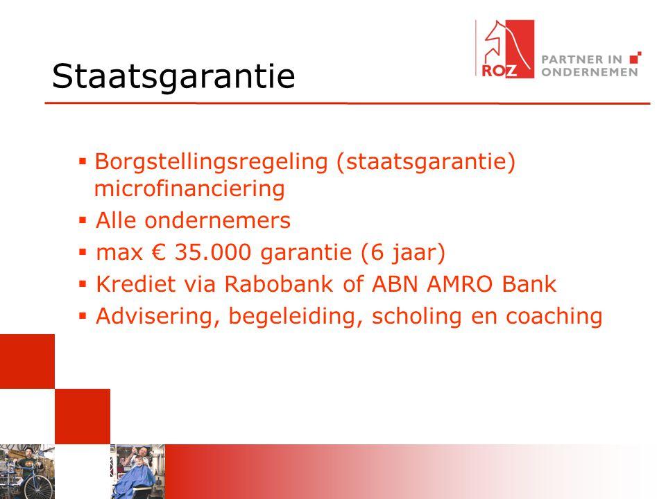 Staatsgarantie  Borgstellingsregeling (staatsgarantie) microfinanciering  Alle ondernemers  max € 35.000 garantie (6 jaar)  Krediet via Rabobank of ABN AMRO Bank  Advisering, begeleiding, scholing en coaching