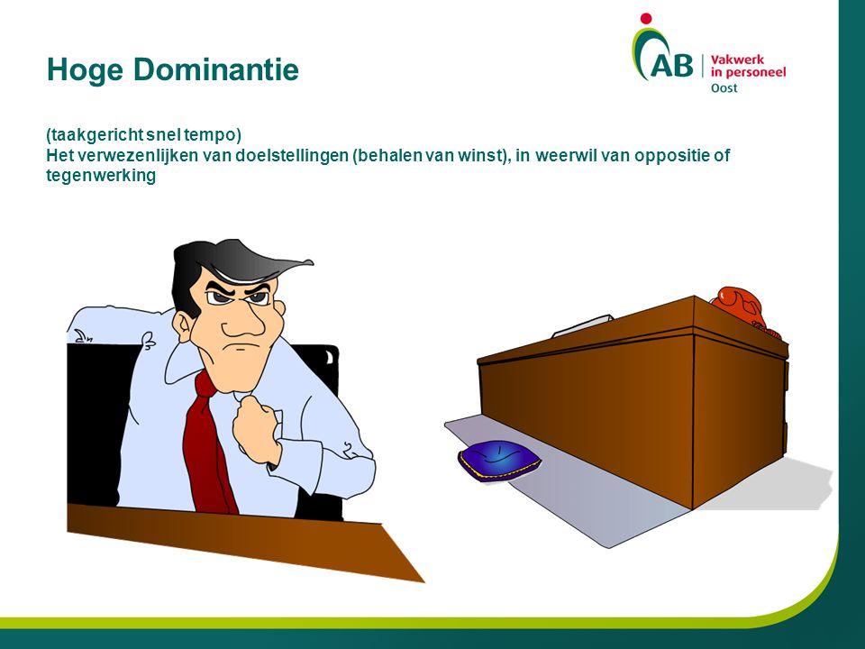 Hoge Dominantie (taakgericht snel tempo) Het verwezenlijken van doelstellingen (behalen van winst), in weerwil van oppositie of tegenwerking
