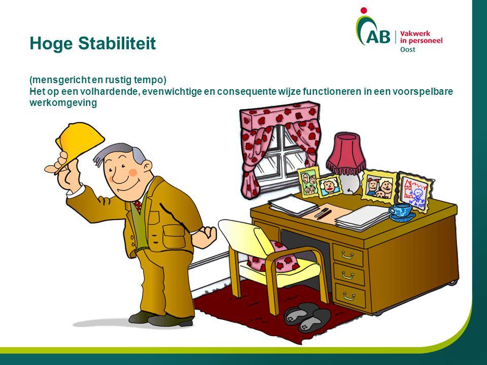 Hoge Stabiliteit (mensgericht en rustig tempo) Het op een volhardende, evenwichtige en consequente wijze functioneren in een voorspelbare werkomgeving