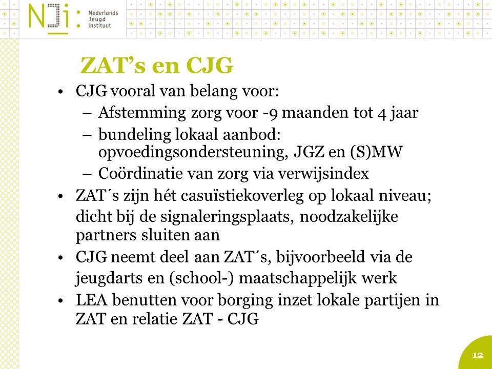 12 ZAT's en CJG CJG vooral van belang voor: –Afstemming zorg voor -9 maanden tot 4 jaar –bundeling lokaal aanbod: opvoedingsondersteuning, JGZ en (S)M