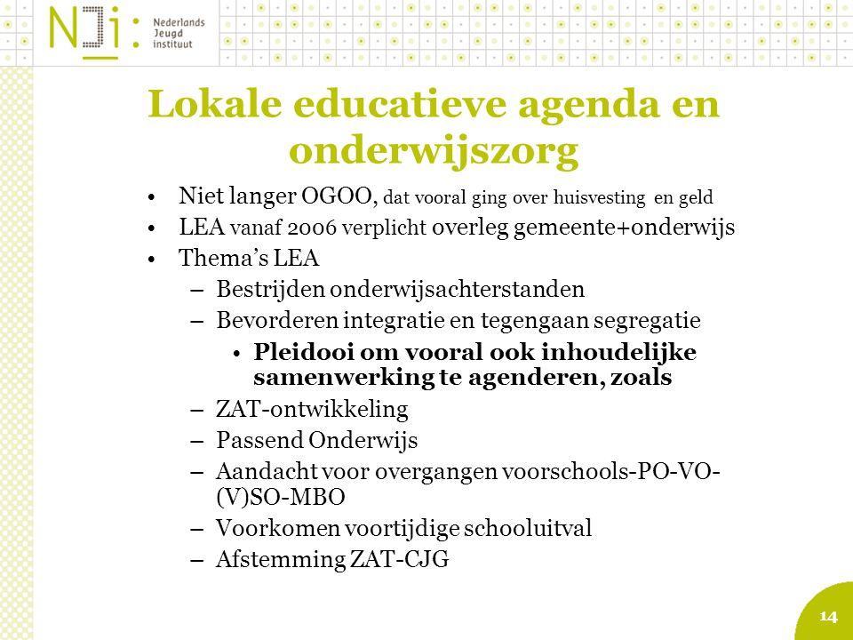 14 Lokale educatieve agenda en onderwijszorg Niet langer OGOO, dat vooral ging over huisvesting en geld LEA vanaf 2006 verplicht overleg gemeente+onde