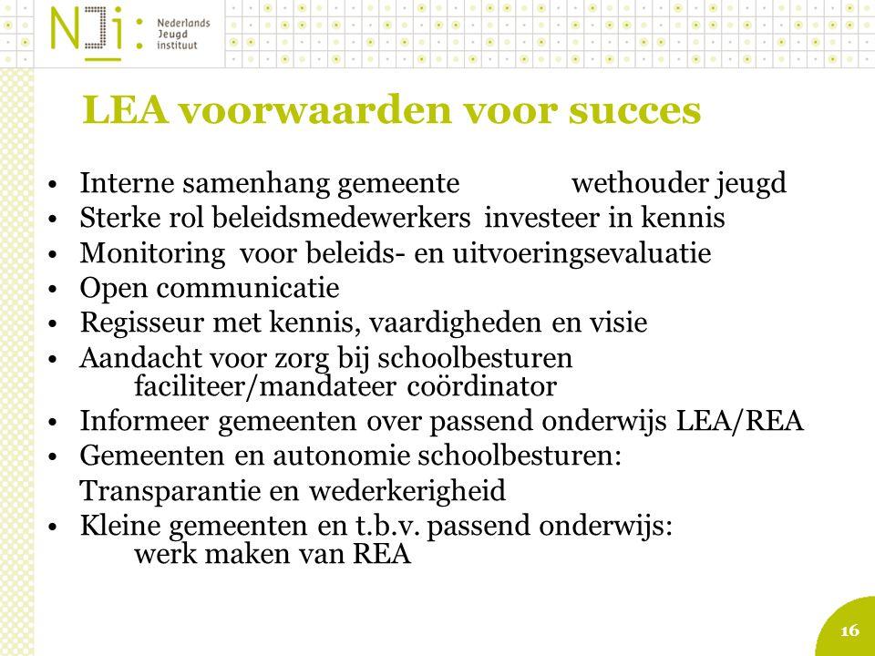 16 LEA voorwaarden voor succes Interne samenhang gemeentewethouder jeugd Sterke rol beleidsmedewerkersinvesteer in kennis Monitoring voor beleids- en