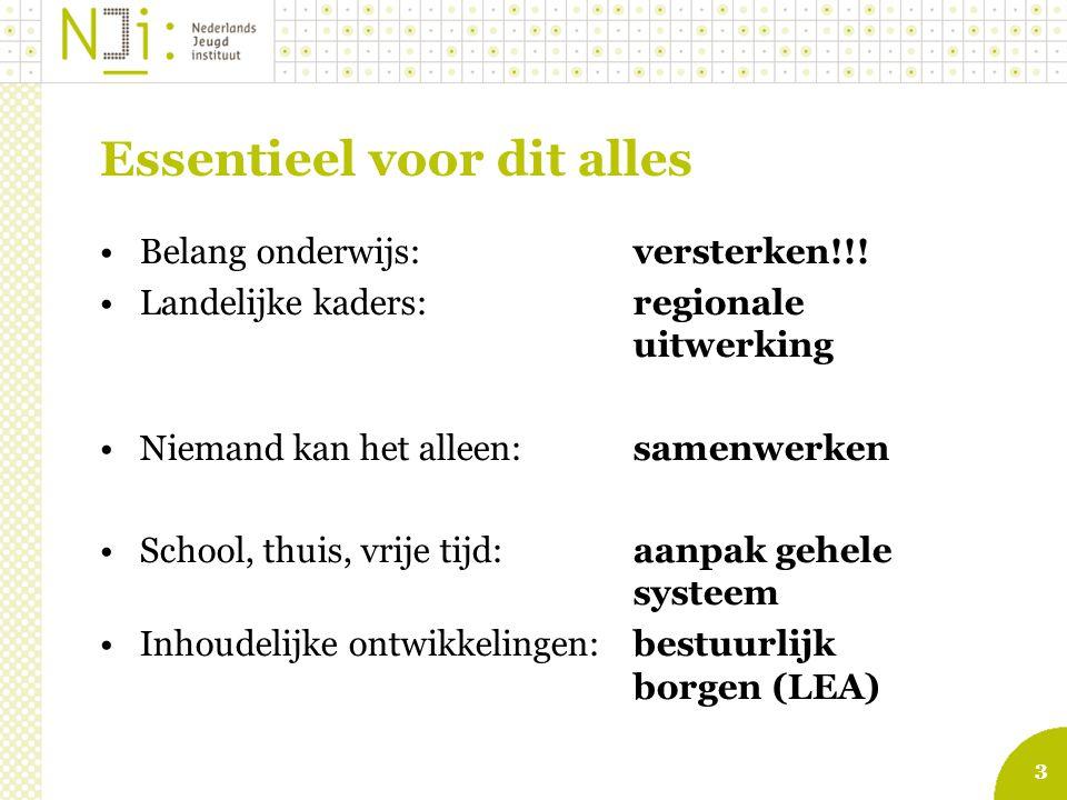 3 Essentieel voor dit alles Belang onderwijs:versterken!!! Landelijke kaders:regionale uitwerking Niemand kan het alleen:samenwerken School, thuis, vr