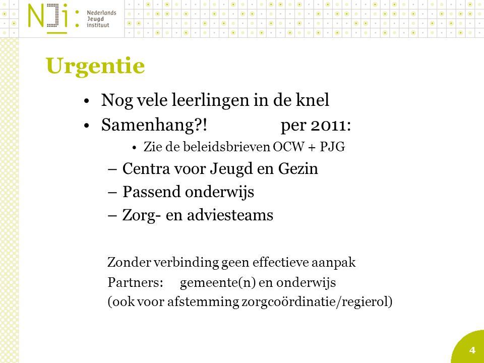 4 Urgentie Nog vele leerlingen in de knel Samenhang?! per 2011: Zie de beleidsbrieven OCW + PJG –Centra voor Jeugd en Gezin –Passend onderwijs –Zorg-
