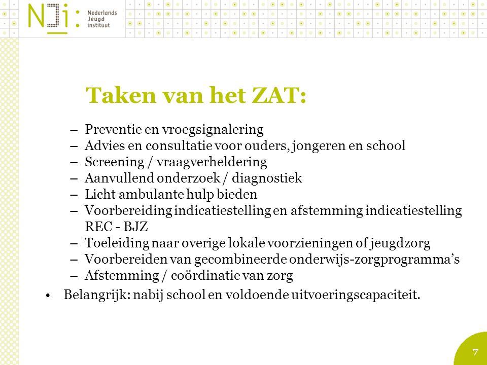 7 Taken van het ZAT: –Preventie en vroegsignalering –Advies en consultatie voor ouders, jongeren en school –Screening / vraagverheldering –Aanvullend