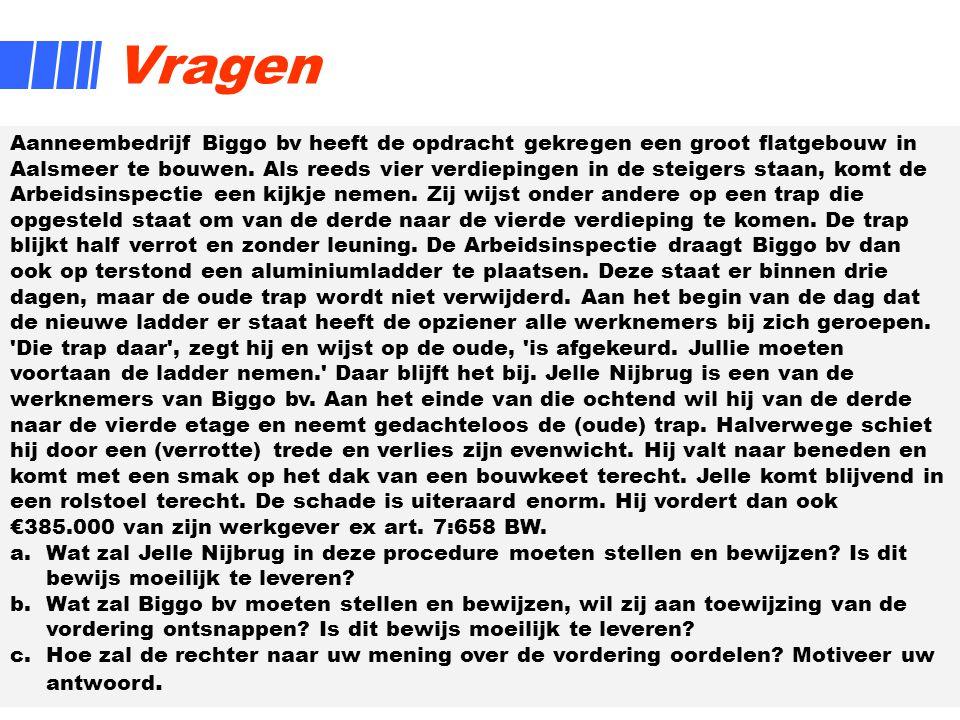 19 Vragen Aanneembedrijf Biggo bv heeft de opdracht gekregen een groot flatgebouw in Aalsmeer te bouwen. Als reeds vier verdiepingen in de steigers st