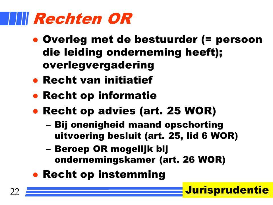 22 Rechten OR l Overleg met de bestuurder (= persoon die leiding onderneming heeft); overlegvergadering l Recht van initiatief l Recht op informatie l
