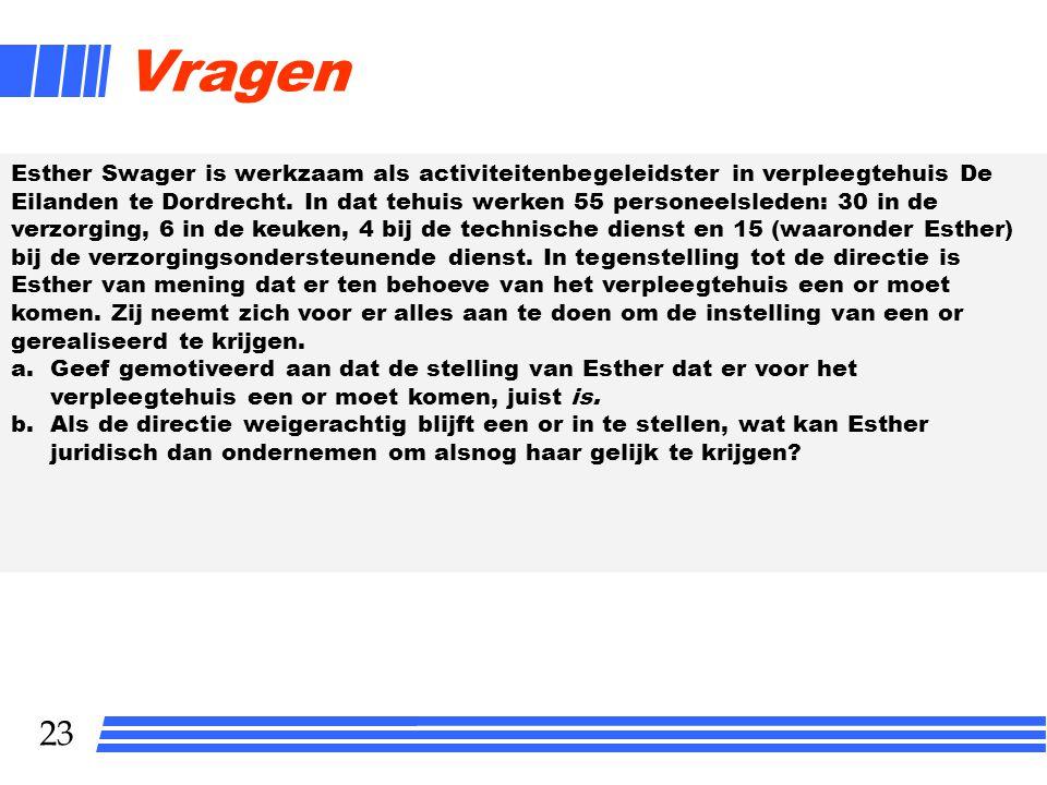 23 Vragen Esther Swager is werkzaam als activiteitenbegeleidster in verpleegtehuis De Eilanden te Dordrecht. In dat tehuis werken 55 personeelsleden: