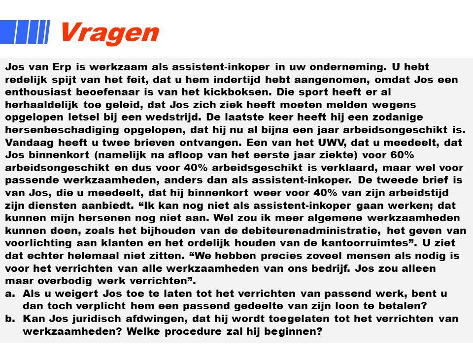 9 Vragen Jos van Erp is werkzaam als assistent-inkoper in uw onderneming. U hebt redelijk spijt van het feit, dat u hem indertijd hebt aangenomen, omd