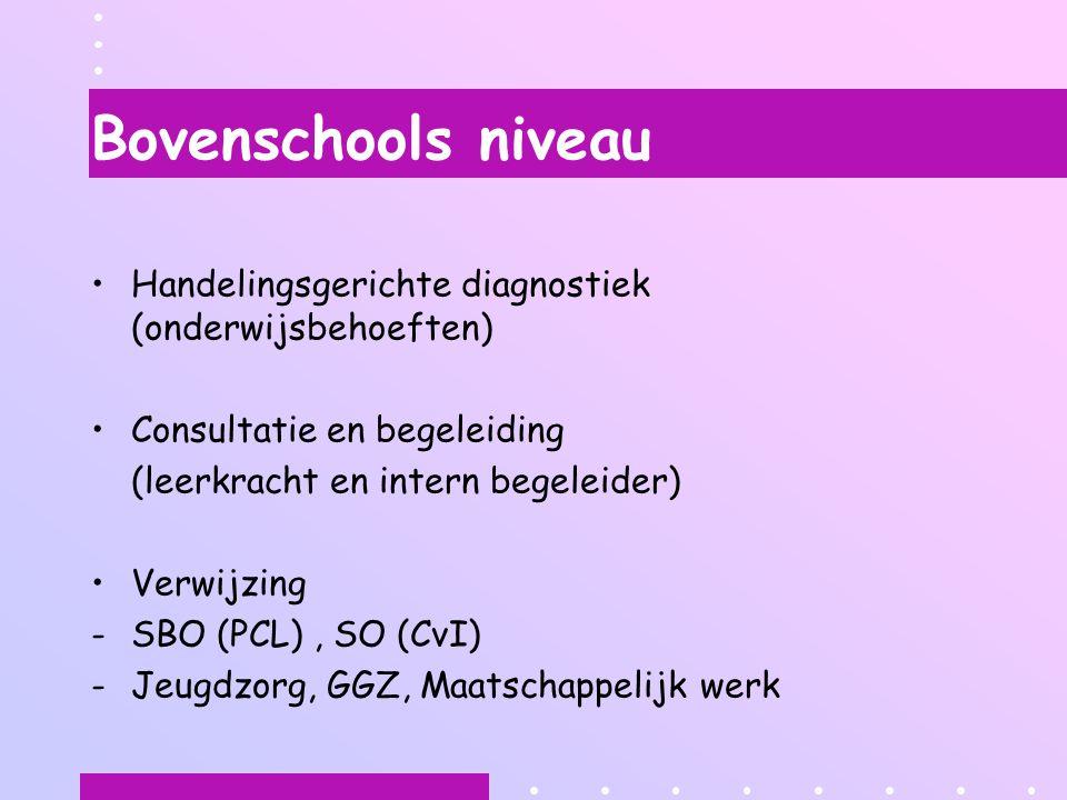 Bovenschools niveau Handelingsgerichte diagnostiek (onderwijsbehoeften) Consultatie en begeleiding (leerkracht en intern begeleider) Verwijzing -SBO (PCL), SO (CvI) -Jeugdzorg, GGZ, Maatschappelijk werk