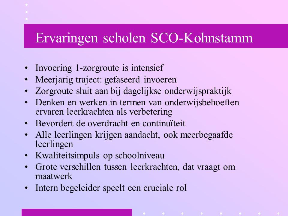 Ervaringen scholen SCO-Kohnstamm Invoering 1-zorgroute is intensief Meerjarig traject: gefaseerd invoeren Zorgroute sluit aan bij dagelijkse onderwijs