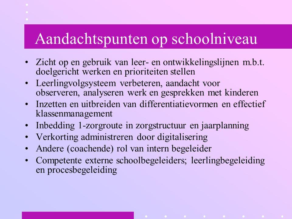 Aandachtspunten op schoolniveau Zicht op en gebruik van leer- en ontwikkelingslijnen m.b.t. doelgericht werken en prioriteiten stellen Leerlingvolgsys