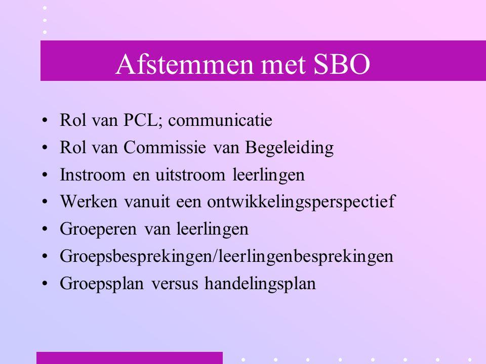 Afstemmen met SBO Rol van PCL; communicatie Rol van Commissie van Begeleiding Instroom en uitstroom leerlingen Werken vanuit een ontwikkelingsperspectief Groeperen van leerlingen Groepsbesprekingen/leerlingenbesprekingen Groepsplan versus handelingsplan