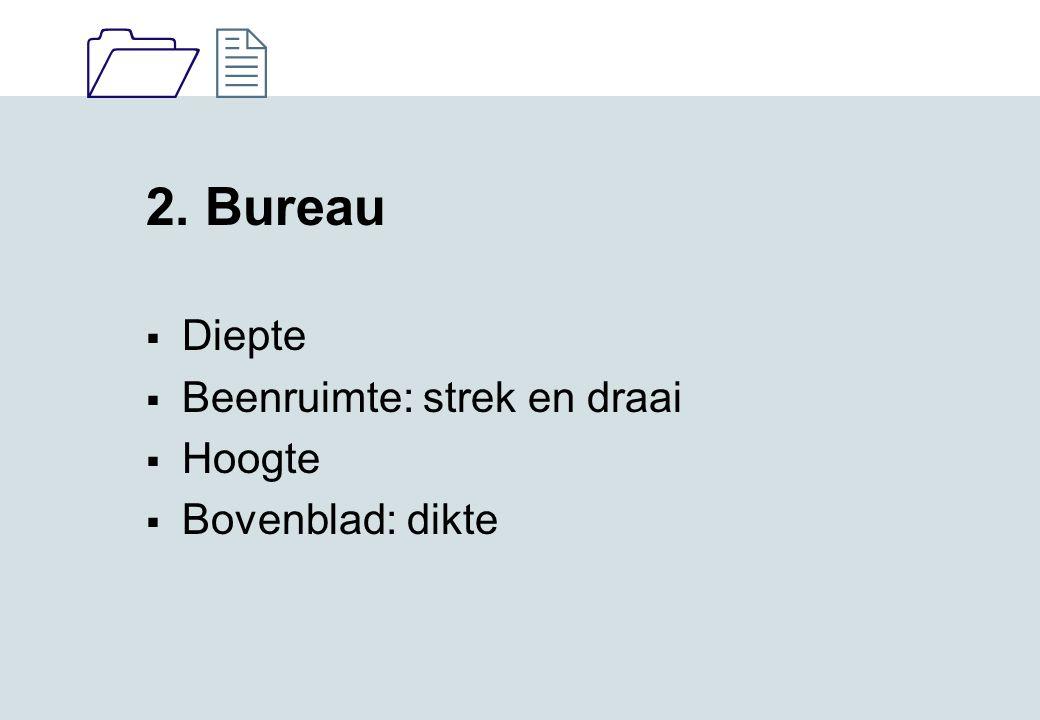 1212 2. Bureau  Diepte  Beenruimte: strek en draai  Hoogte  Bovenblad: dikte