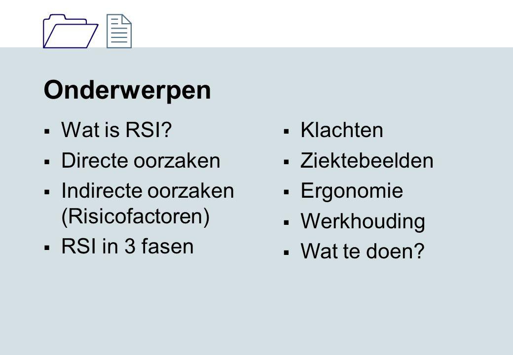 1212 Onderwerpen  Wat is RSI?  Directe oorzaken  Indirecte oorzaken (Risicofactoren)  RSI in 3 fasen  Klachten  Ziektebeelden  Ergonomie  Werk