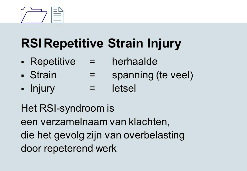 1212 RSIRepetitive Strain Injury  Repetitive=herhaalde  Strain =spanning (te veel)  Injury =letsel Het RSI-syndroom is een verzamelnaam van klachte