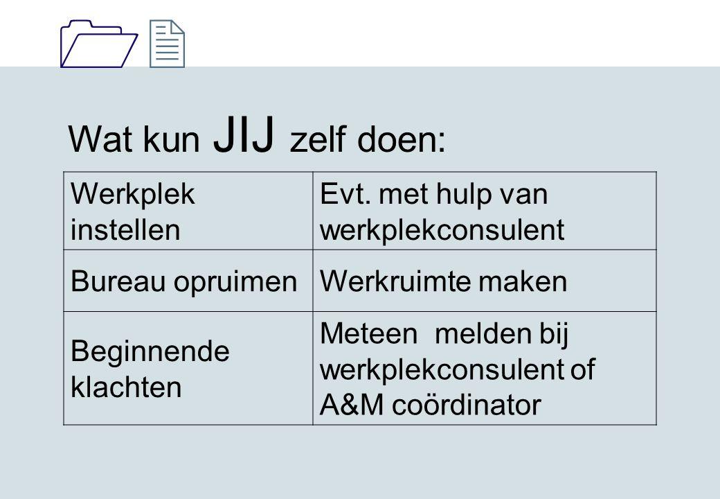 1212 Wat kun JIJ zelf doen: Werkplek instellen Evt. met hulp van werkplekconsulent Bureau opruimenWerkruimte maken Beginnende klachten Meteen melden b