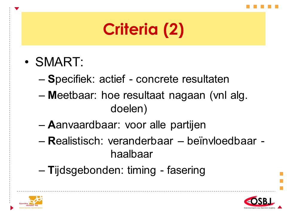 Criteria (2) SMART: –Specifiek: actief - concrete resultaten –Meetbaar: hoe resultaat nagaan (vnl alg. doelen) –Aanvaardbaar: voor alle partijen –Real