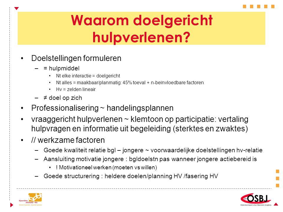 Waarom doelgericht hulpverlenen? Doelstellingen formuleren –= hulpmiddel Nt elke interactie = doelgericht Nt alles = maakbaar/planmatig: 45% toeval +